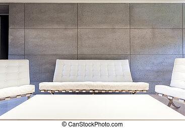 bianco, stanza moderna, mobilia