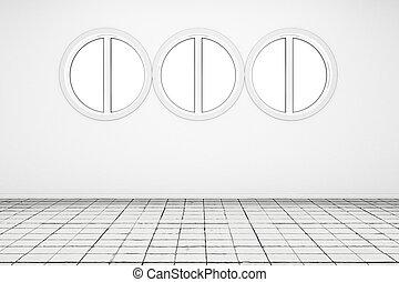 bianco, stanza vuota, pavimento pavimentato