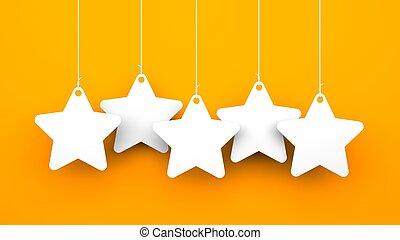 bianco, stelle, su, sfondo arancia