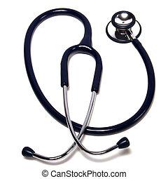 bianco, stetoscopio, isolato, fondo