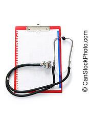 bianco, stetoscopio, isolato, rilegatore