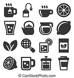 bianco, tè, vettore, set, fondo., icone