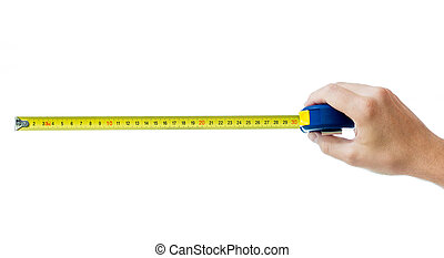 bianco, tape-measure, isolato, mano umana
