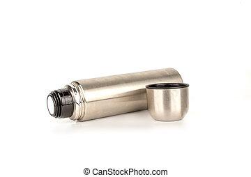 bianco, termos, fondo., isolato, argento