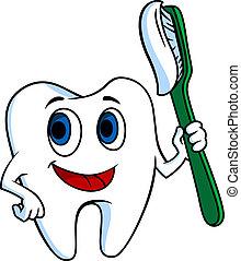 bianco, tooth-brush, dente