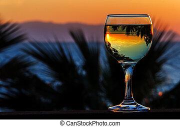 bianco, tramonto, mare, fondo, vino