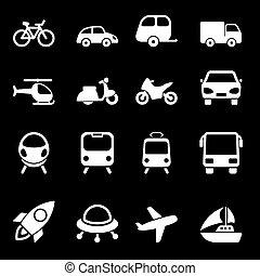 bianco, trasporto, icone