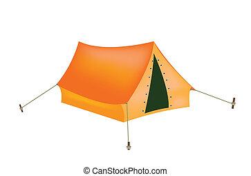 bianco, turista, fondo, tenda