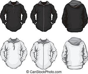 bianco, uomini, nero, felpa, hoodie