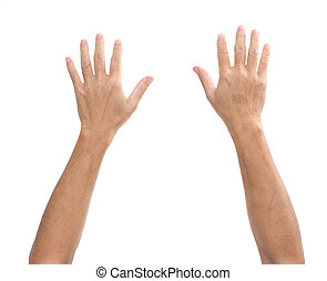 bianco, uomo, isolato, fondo, mani