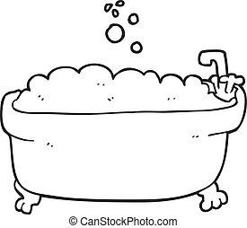 bianco, vasca bagno, nero, cartone animato
