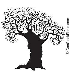 bianco, vettore, albero