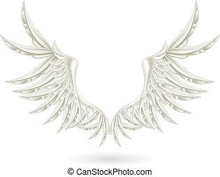 bianco, vettore, ali