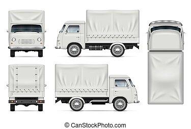 bianco, vettore, camion, mockup