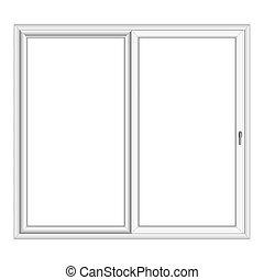 bianco, vettore, finestra, pvc, baia