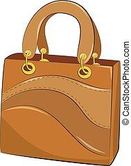 bianco, vettore, fondo, handbags., illustrazione