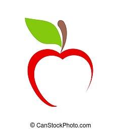 bianco, vettore, frutta, mela, icona, illustrazione, casato, rosso