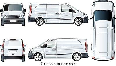 bianco, vettore, furgone, isolato, sagoma