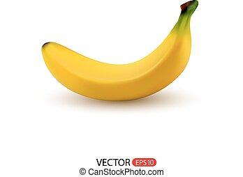 bianco, vettore, isolato, fondo, banana