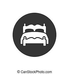 bianco, vettore, letto, icona, moderno, appartamento, stile, doppio