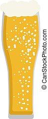 bianco, vettore, vetro birra, illustrazione, fondo., lungo