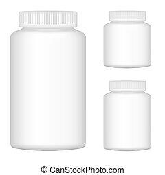 bianco, vuoto, bottiglia di plastica, set, per, imballaggio,...