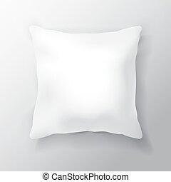 bianco, vuoto, cuscino, quadrato