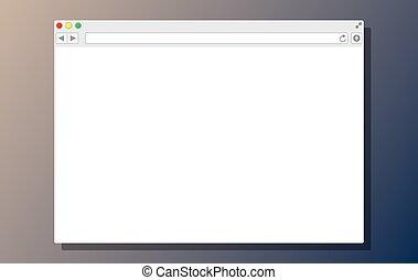 bianco, vuoto, finestra., browser