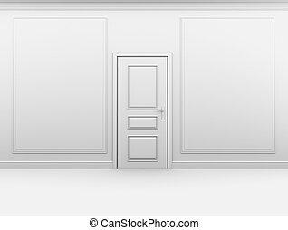 bianco, vuoto, porta, stanza, chiuso