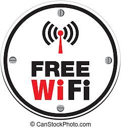 bianco, wifi, -, cerchio, libero
