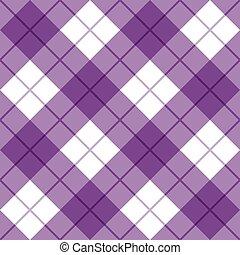 bias, pläd, in, purpur, och, vit