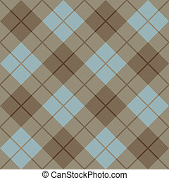 Bias Plaid in Blue, Taupe and Gold - Vector seamless...