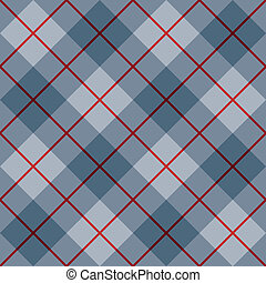 Bias Plaid in Blue with Red Stripe - Vector seamless 45-...