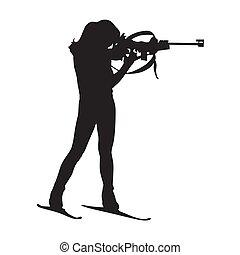 biathlete, kvinna, står, på, den, omfång, och, pekande, a,...