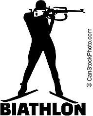 biathlete, silhouette, parola