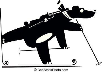 Biathlon competitor bear black on white illustration