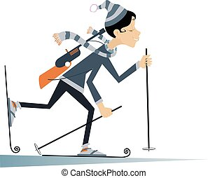 Biathlon competitor woman - Cartoon biathlon competitor...