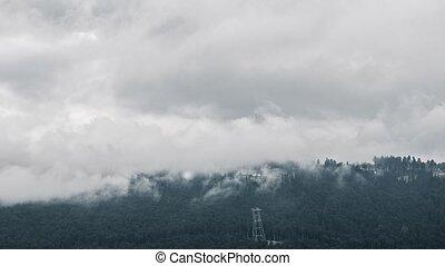 Biathlon Complex Laura in the clouds. Time Lapse. Zoom. Sochi, Russia