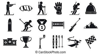 Biathlon icons set, simple style