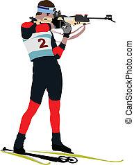 biathlon, läufer, gefärbt, silhouette
