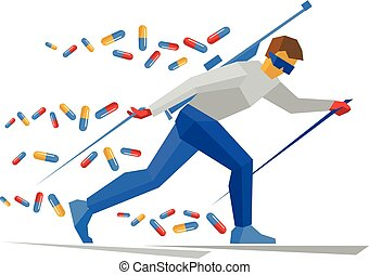 Biathlon player with doping pills
