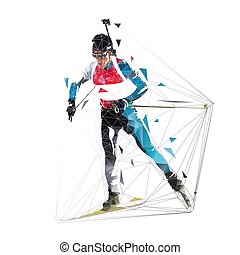 Biathlon racer, polygonal isolated vector illustration. Winter sport