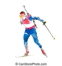 Biathlon racing, abstract geometric skier silhouette