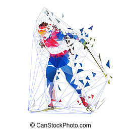 Biathlon racing, polygonal isolated vector illustration. Winter sport