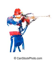 Biathlon racing, shooting standing. Abstract low poly vector illustration