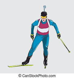 Biathlon racing, skiing athlete. Isolated vector illustration, winter sports