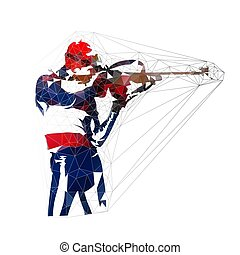 Biathlon shooting, low polygonal isolated vector illustration