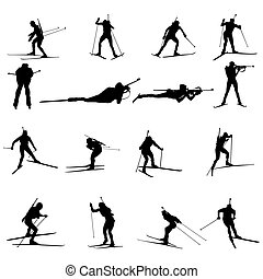 biathlon silhouette set - Set of biathlon sportman...