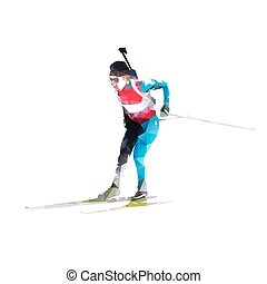Biathlon skier, abstract vector geometric silhouette