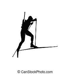Biathlon sportsman silhouette. Black on white. Vector illustration.